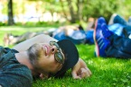 Laying on the grass outside Park Cafe